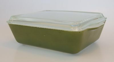 Pyrex Cook Dish Verde Olive Army Green Avocado 0503 Ribbed Lid 1-1/2 QT USA 1.5