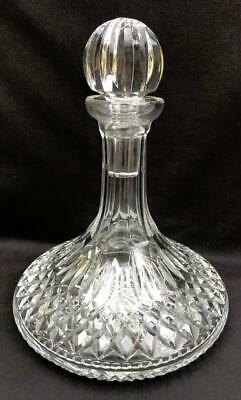 "Signed Waterford Crystal ""Lismore"" Art Glass Ships Wine Alcohol Liquor Decanter"