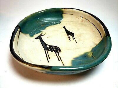 Oribe Japanese Art Pottery Bowl With Deer Signed