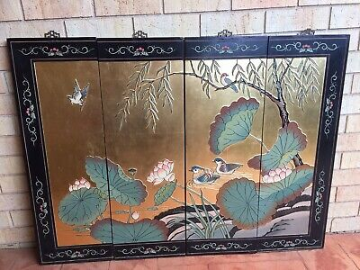 x4 Vintage Chinese Black Gold Lacquer Wall Panels