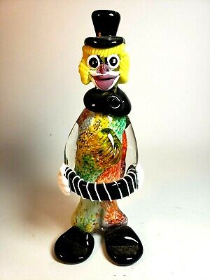 Vintage Murano Art Glass Clown Figure Multi-Colored Body