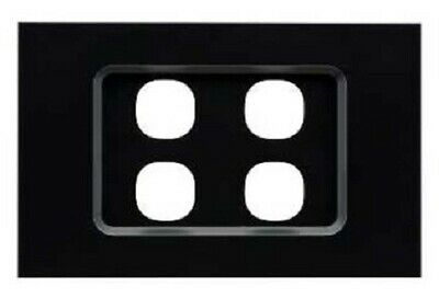 Clipsal SATURN ZEN GRID & PLATE ASSEMBLY 4-Gang For Switch/Push Button BLACK