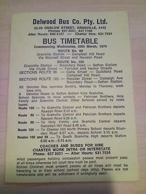 Delwood Bus Co. BUS TIMETABLE from 1974. GREAT condition!