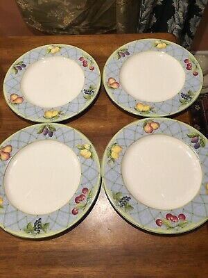 SET of 4 ~ Mikasa Optima  FRUIT RAPTURE  Dinner Plates VG