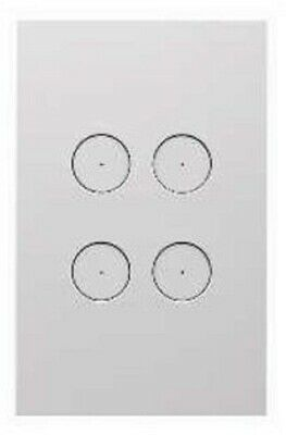 Clipsal SATURN ZEN GRID & PLATE ASSEMBLY 4-Gang LED Backlit Push Buttons WHITE