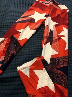 LuLaRoe Americana Kids Leggings Firework L/XL Fits 6-12 Shooting Stars