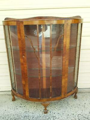 Antique Queen Anne Style Single Astragal Glass Door Bow Fronted China Cabinet