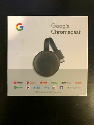 Google Chromecast 3rd Gen Streaming Media Player - Charcoal - Brand New Sealed