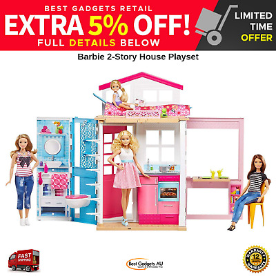 BARBIE 2 Story House Playset Home Kitchen Sink Dining Room 2 in 1 Gift Girl NEW