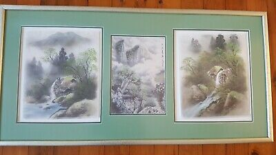 Framed Asian Artwork with silk paintings