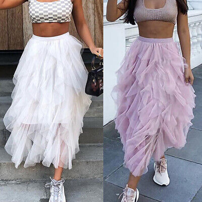 UK Women Adult Lady Tutu Tulle Skirt Fancy Skirt Dress Up Party Dancing Dresses