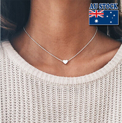 Genuine 18K Gold Plated Chain With Tiny Love Heart Pendant Choker Necklace
