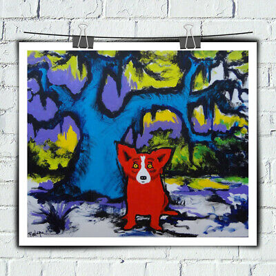 Blue Dog Cartoon Art Prints Home Decor Wall Art Print on Canvas 12x14 Unframed