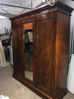 Pre Victorian James Winter & Sons Flame Mahogany Gentleman's Wardrobe c1830