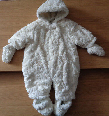 Mothercare Girls Faux Fur Pramsuit All in One - 0-3 Months