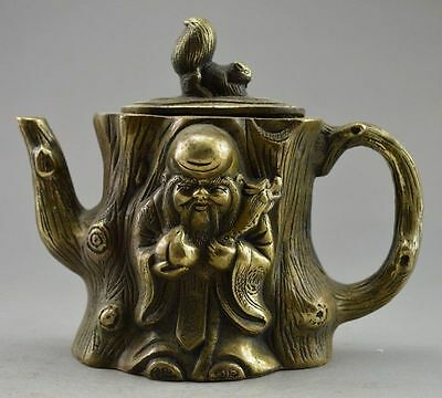 Collectible Decorated Old Handwork Copper Carved Squirrel Immortal Tree Tea Pot