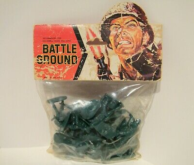 Battle Ground Vintage Hong Kong Wwii Army Plastic Toy Soldiers Sealed In Packet
