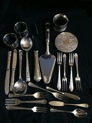 Old Silver Plate & other Cutlery items,napkin rings,coaster etc Job Lot,21 item