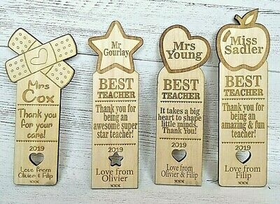 Personalised Teacher Bookmark Gifts Top Teacher Award Thank you Pre School Nurse