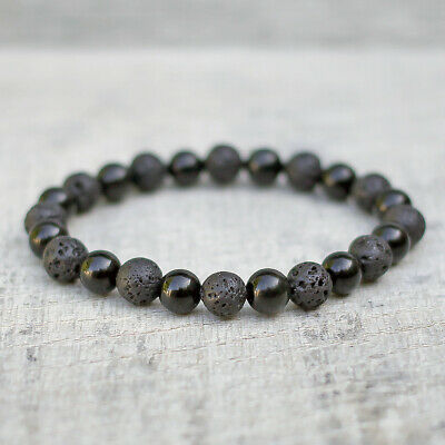 Black Obsidian Bracelet With Volcanic Lava, Natural 8mm Beads Unisex Stretch Fit