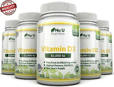 Vitamin D3 10000iu 5 x 365 Soft Gels High Strength 1 Year Supply  Mega Bulk Deal
