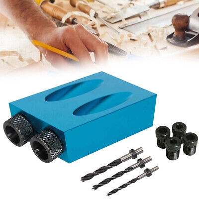 HOT Pocket Hole Jig Kit 15° Angle 6/8/10mm Adapter Drill Guide Woodworking UK