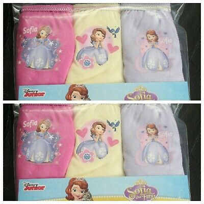 Girls SOFIA THE FIRST 100% Cotton Briefs/Knickers x 6 Pairs - 2-3 Years