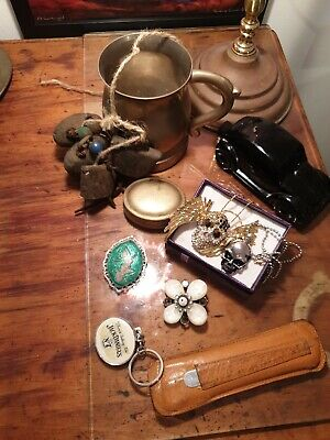 Vintage group lot bells jewellery keyring and other
