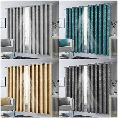 Thermal Blackout Pencil Pleat Curtains Ready Made Tape Top Energy Saving Curtain