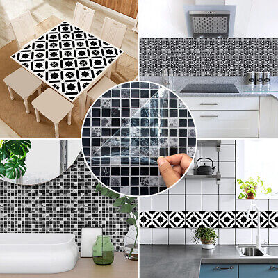 Black White Moroccan Style Mosaic Tile Stickers Wall Decals for Kitchen Bathroom