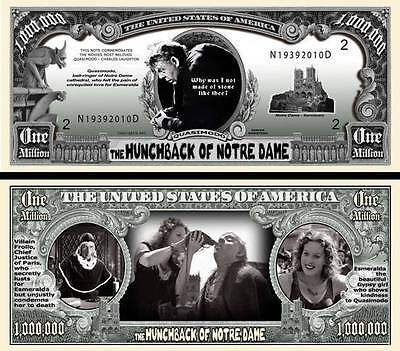 NOTRE DAME DE PARIS Billet Million Dollar US! Collection Film Quasimodo Bossu de