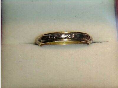 Superb Vintage 2 tone Ornate Solid 18ct Gold Women's Wedding Ring Band S7