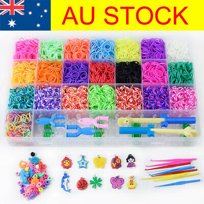 NEW DIY 6800pcs Rainbow Colourful Rubber Loom Bands Bracelet Making Kit Box T