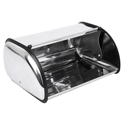 Stainless Steel Storage Box Bread Bin Kitchen Tool Roll up Lid Bread Container