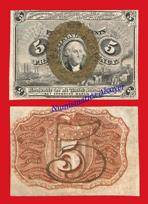 UNITED STATES FRACTIONAL CURRENCY 5 Cents centimos 1863 Pick 101a EBC / XF