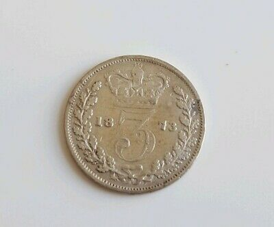 1874 Victoria threepence. Young head Victoria 3d silver three pence