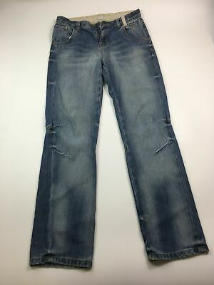 Boys M&S Indigo Stone Washed Blue Denim Straight Leg Jeans Age 14 Years Zip Fly