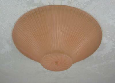 Vintage pink ribbed and swirl ceiling light shade