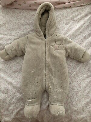 Mamas & Papas Snowsuit Newborn Pramsuit Coat Cosy Winter All In One Cream Unisex