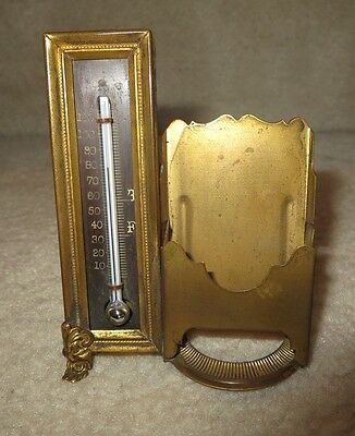 Brass Thermometer + Card Holder Victorian Combo Desktop Accessory Vintage