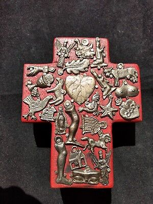 Mexican Milagros Religious Medallions Wood Cross with Miracle Charms Handmade