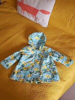 Next Baby Girl Lemon Print Rain Coat Size 9-12 Months