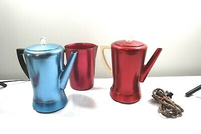 50's Vintage Red Blue Aluminum Coffee Pots Flavo Matic West Bend + Pitcher