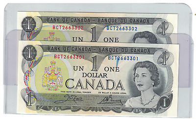 1973 Bank of  Canada 2 consecutive $1 Dollar Notes BCT Crow/Bouey Ink Smear