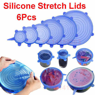 6pc Super Stretch Lids Silicone Bowl Covers Universal Food Covers Lids Easy Fit