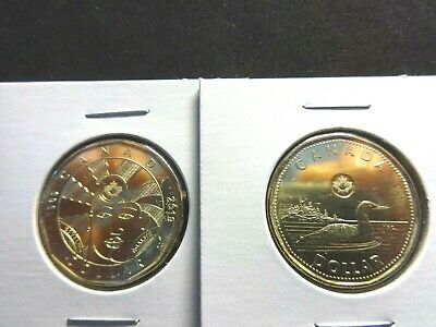 Canada Lot x 2  2019 1$ Dollar  EQUALITY & LOONIE  CoinS 26.5 mm