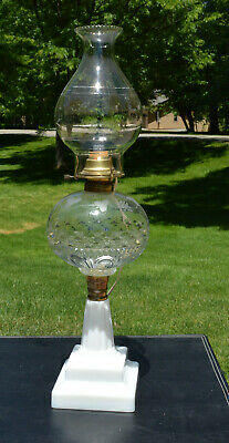 Vintage Antique Large Oil Lamp Milk Glass Base Etched Font Converted to Electric