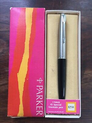 VINTAGE PARKER BLACK 45 Special FOUNTAIN PEN New In Box