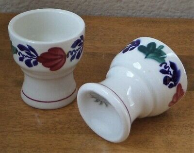 Lot of 2 Footed Ceramic Egg Cups - BOERENBONT by Boch Belgium - Floral/Red Trim