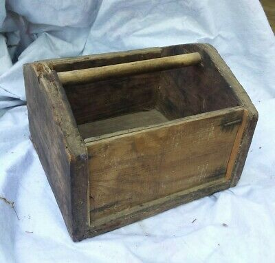 Early Antique Primitive Wood Carpenters Flower Box Handled Country Deck Planter